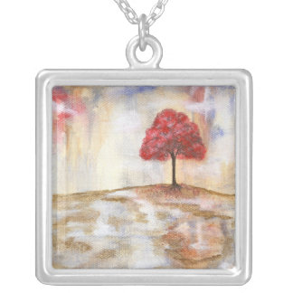 Wishing Tree Square Pendant Necklace Painting