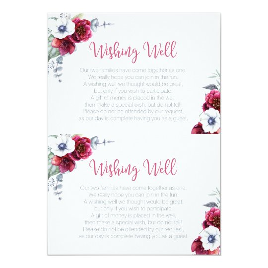 Wishing Well Bridal Shower insert card