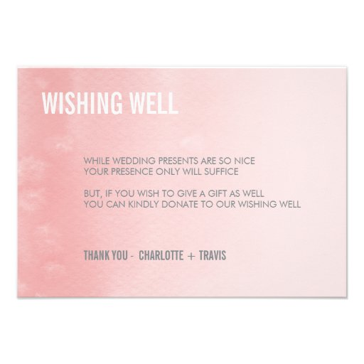 WISHING WELL CARD :: ombre watercolor coral