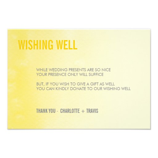 WISHING WELL CARD :: ombre watercolor yellow