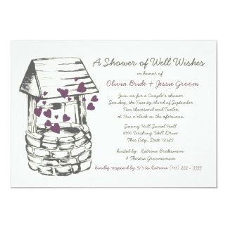 Wishing Well Couples Shower Plum Hearts 13 Cm X 18 Cm Invitation Card