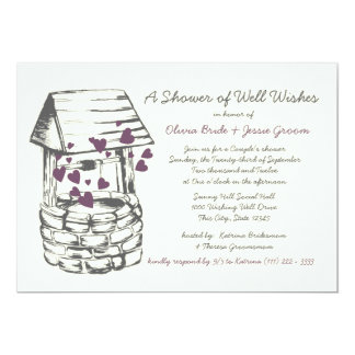 "Wishing Well Couples Shower Plum Hearts 5"" X 7"" Invitation Card"