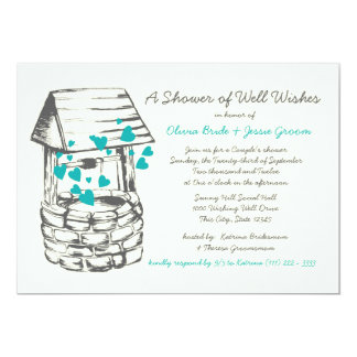 "Wishing Well Couples Shower Turquoise Hearts 5"" X 7"" Invitation Card"