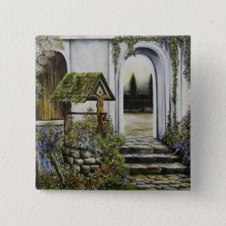Wishing well garden ~Oil Painitng 15 Cm Square Badge