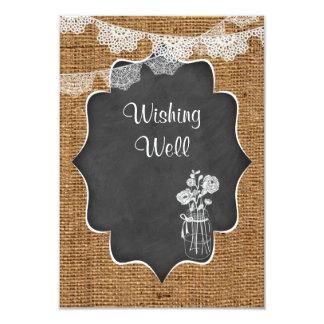 Wishing Well | Mason Jar, Lace, Burlap, Chalkboard 9 Cm X 13 Cm Invitation Card