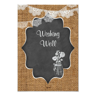 Wishing Well | Mason Jar, Lace, Burlap, Chalkboard Card