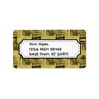Wishing Well Pattern Faded Vintage Tan Address Label