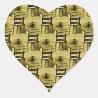 Wishing Well Pattern Faded Vintage Tan Heart Sticker