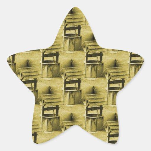 Wishing Well Pattern Faded Vintage Tan Star Sticker