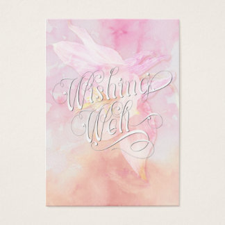 WISHING WELL PINK COLUMBINE WATERCOLOR SPLASH BUSINESS CARD
