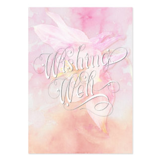 WISHING WELL PINK COLUMBINE WATERCOLOR SPLASH PACK OF CHUBBY BUSINESS CARDS