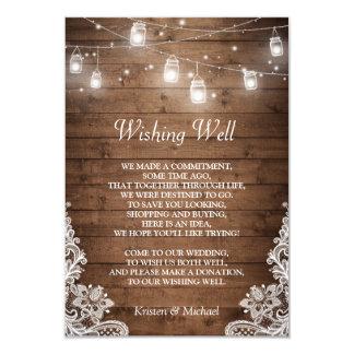 Wishing Well   Rustic Wood Mason Jar Lights Lace 9 Cm X 13 Cm Invitation Card