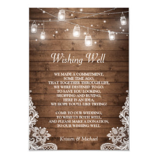 Wishing Well | Rustic Wood Mason Jar Lights Lace Card