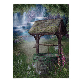 Wishing Well Waterfall Poster