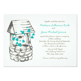 Wishing Well Wedding Turquoise Hearts 13 Cm X 18 Cm Invitation Card