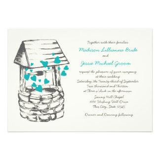 Wishing Well Wedding Turquoise Hearts Invite