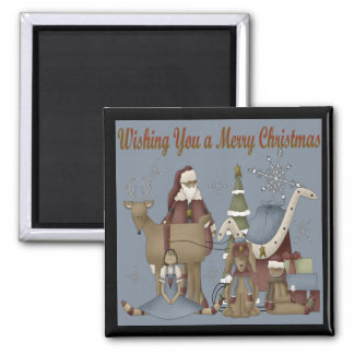 Wishing You a Merry Christmas Square Magnet
