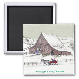 Wishing you a Merry Christmas... Square Magnet