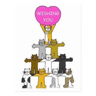 Wishing you a speedy recovery, cartoon cats. postcard