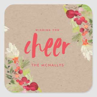 Wishing You Cheer Floral Gift Tag Sticker