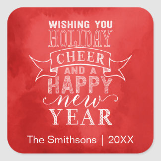 Wishing You Holiday Cheer | Red Watercolor Sticker