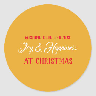 Wishing You Joy & Happiness at Christmas - Classic Round Sticker