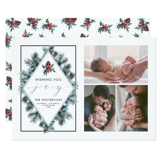 Wishing You Joy Holiday Photo Collage Card