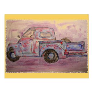 wishing you just old trucks postcard