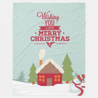 Wishing You Merry Christmas Typographical Design Fleece Blanket