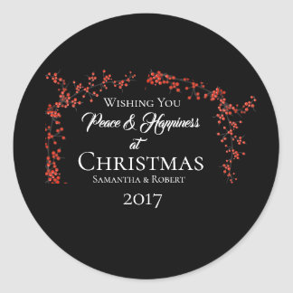 Wishing You Peace & Happiness at Christmas - Classic Round Sticker