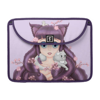 Wispy Purple Haired Neko Anime Girl Sleeve For MacBook Pro