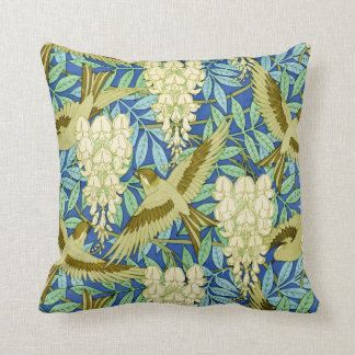 Wisteria and Birds Art Nouveau Floral Cushion