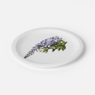 Wisteria and Leaves Paper Plate