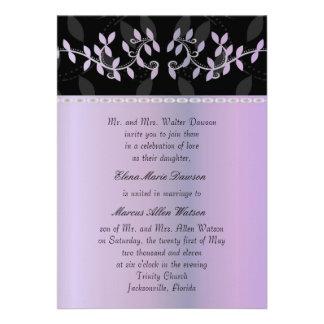 Wisteria Leaf Border Wedding Invitation
