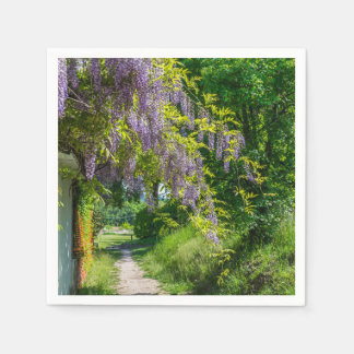 Wisteria on a country lane disposable serviette