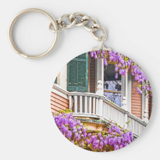 Wisteria on a Vintage Southern  Home in Savannah Basic Round Button Key Ring
