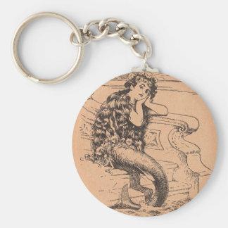 Wistful Mermaid Basic Round Button Key Ring