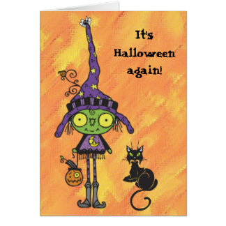 Witch and Black Cat Halloween Card