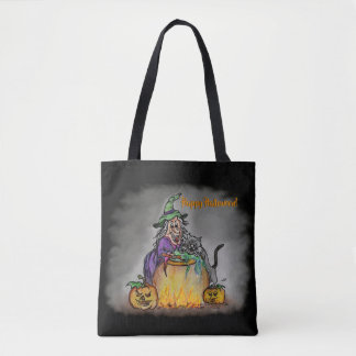 Witch and black Cat, Happy Halloween! Tote Bag
