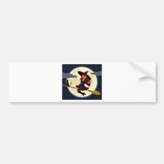 Witch And Black Cat Image Bumper Sticker