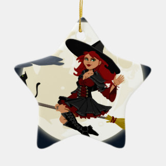 Witch And Black Cat Image Ceramic Star Decoration