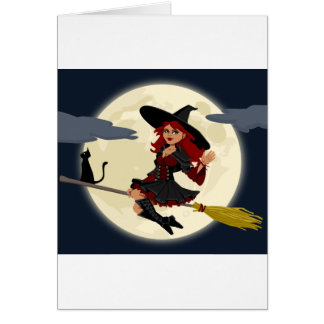 Witch And Black Cat Image Greeting Card