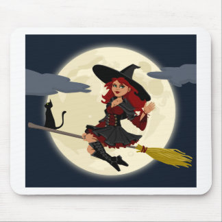 Witch And Black Cat Image Mouse Pad