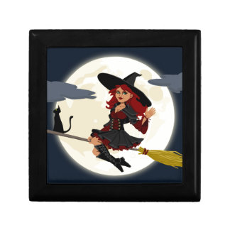 Witch And Black Cat Image Small Square Gift Box