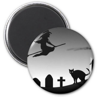 Witch and Black Cat in the Night Fridge Magnet