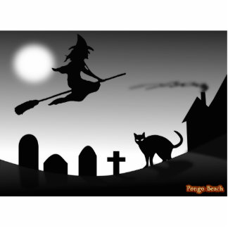 Witch and Black Cat in the Night Standing Photo Sculpture