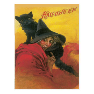 Witch And Black Cat Vintage Postcard