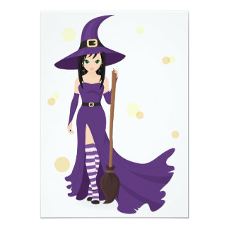 Witch And Broom Invitations