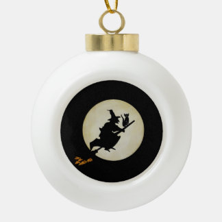 Witch and Cat Ceramic Ball Christmas Ornament