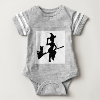 Witch and Cat Flying On Broomstick Silhouette Baby Bodysuit